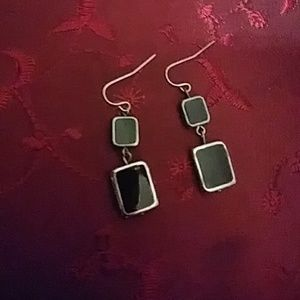 Nwot Ann Taylor Square Onyx silver earrings